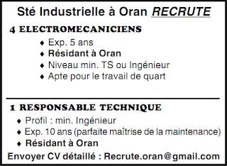 Sté Industrielle à Oran RECRUTE 2013 000