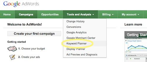 where is Keyword Planner on Adwords