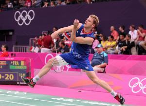 Brice Leverdez en match de badminton
