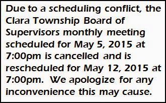 5-5 Clara Township Meeting Rescheduled