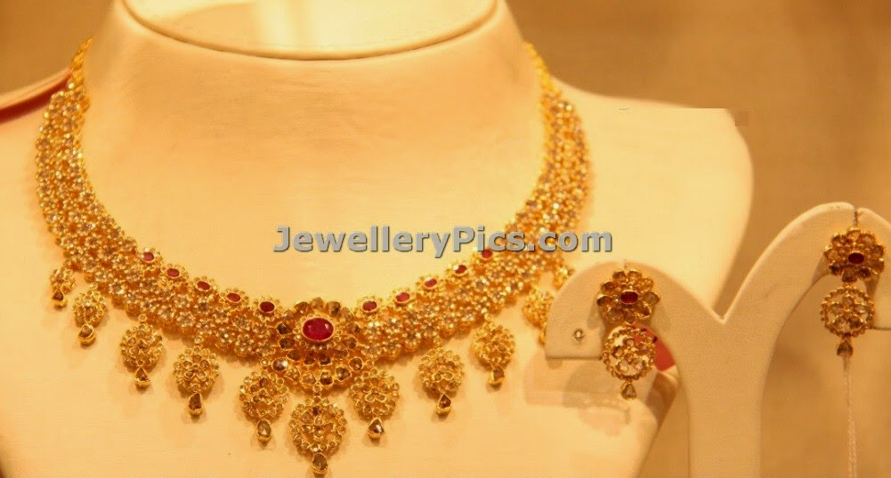 Pretty nakshi cz stones gold necklace