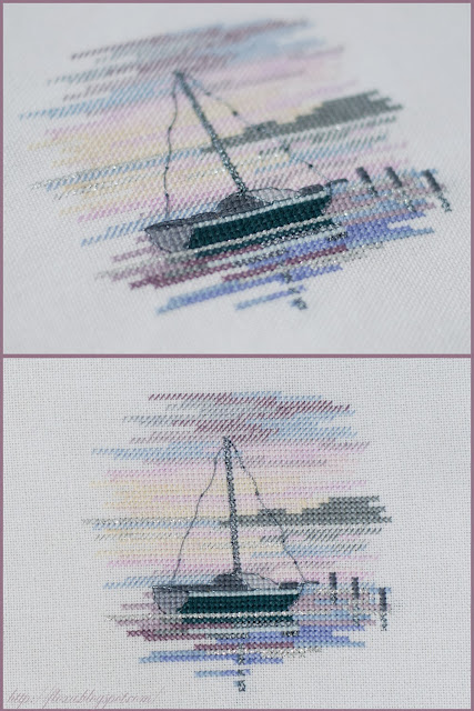 Sailing Boat, вышивка лодка, вышивка парусник, вышивка закат, вышивка миниатюра