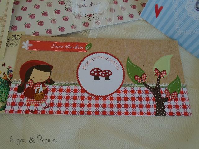Κοκκινοσκουφίτσα-προσκλητήριο βάπτισης by Sugar & Pearls