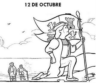 COLOREA TUS DIBUJOS Dibujo de Cristobal Colon descubriendo