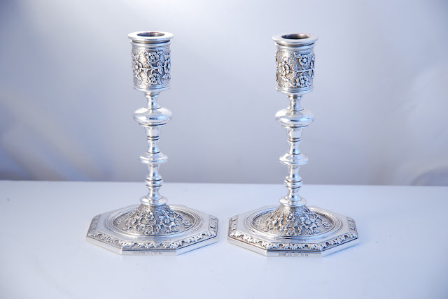 These fine Antique Silver Candlesticks are by Charles Fox