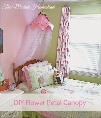 When we found out we were having a second girl we decided to give Claire the new room and let Maddy take Claireu0027s old room. To make Claire feel special she ... & The Modest Homestead: Flower Petal Canopy Tutorial