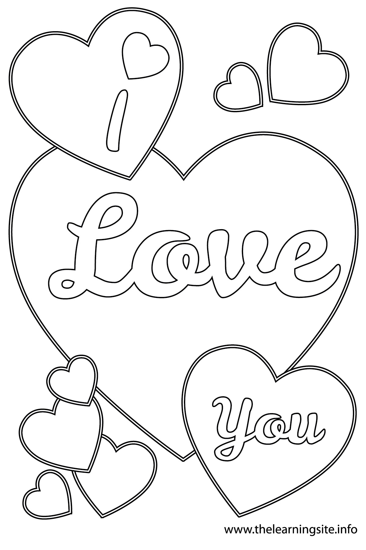 Coloring Pages I Love You : Free love heart drawing coloring pages