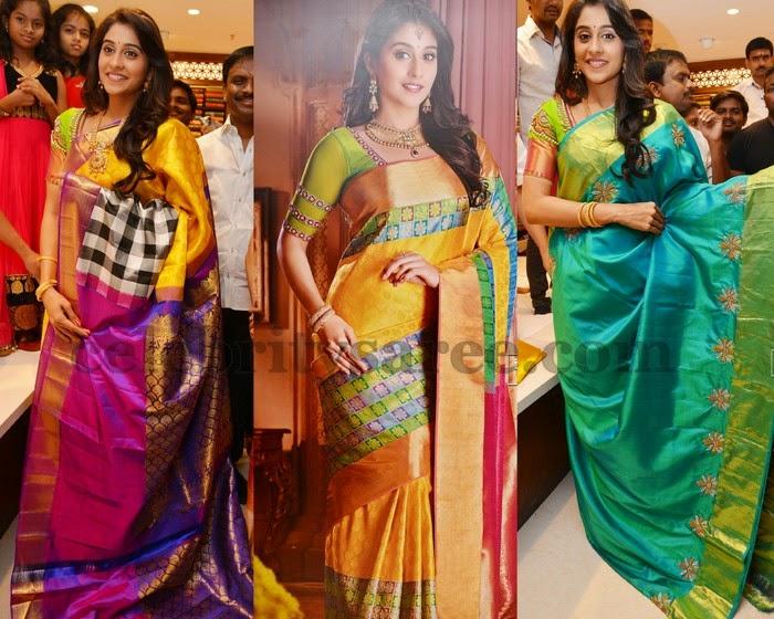 Regina Displaying Chennai Silk Sarees
