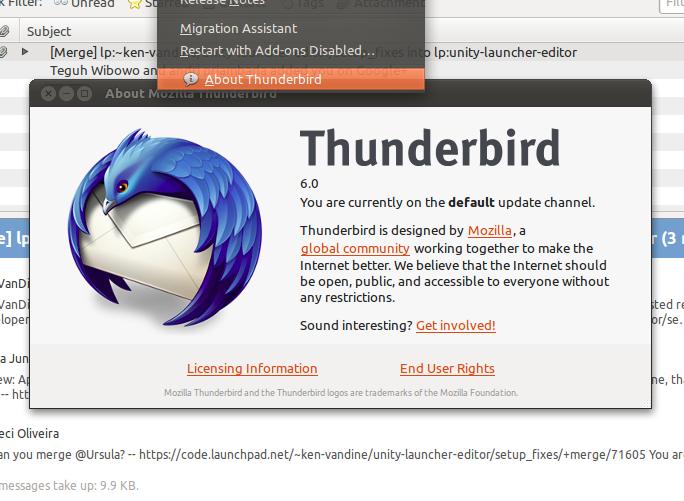 Mozilla Thunderbird 6 di Ubuntu