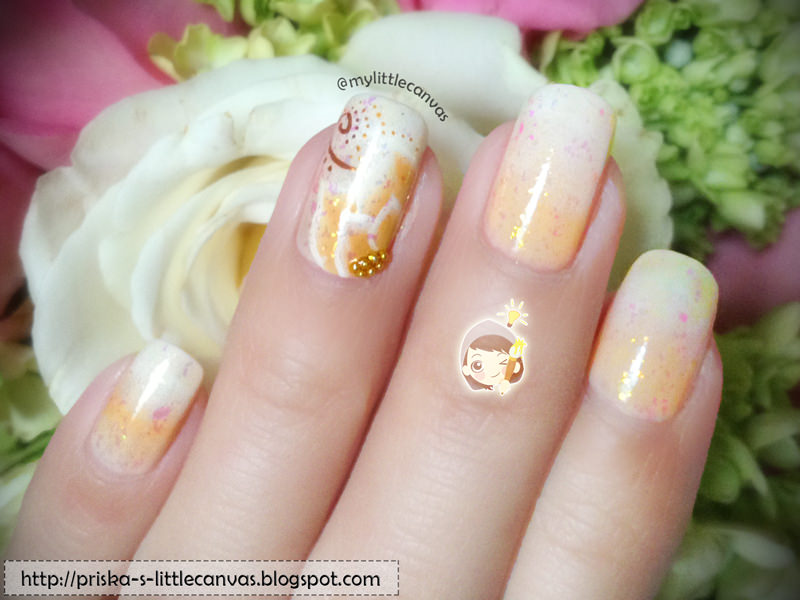 Simple Nail Art : Nude Gradient and One-Stroke Flower