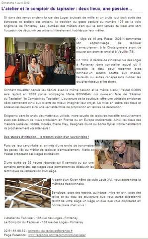 Atelier et comptoir du tapissier tapissier fontenay le - Controle technique fontenay le comte ...