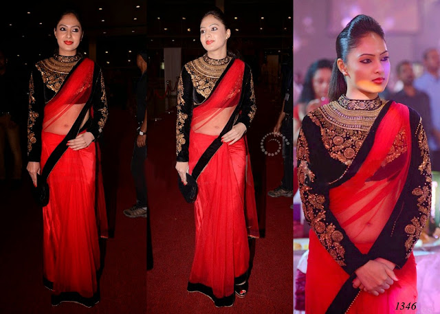 1346-South Indian actress Nikesha Patel in beautiful red designer net saree at SIIMA 2013