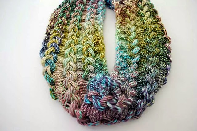 free crochet pattern braided hairpin lace infinity scarf