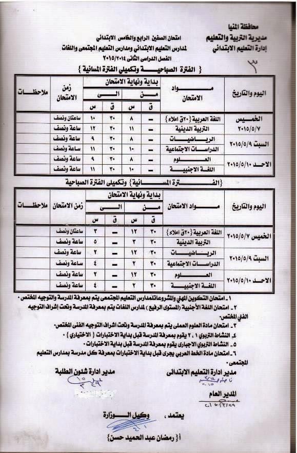 جداول امتحانات اخر العام الدراسى الحالى 2015 للنقل والشهادات بمحافظة المنيا