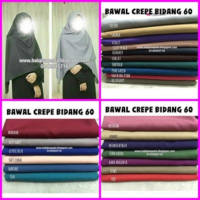 BAWAL CREPE BIDANG 60 (RM14 SEHELAI)