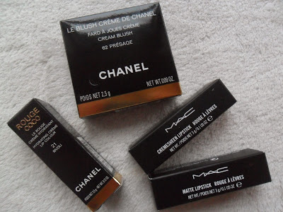 Haul items: Chanel cream blush, Rouge Coco lipstick, MAC lipsticks