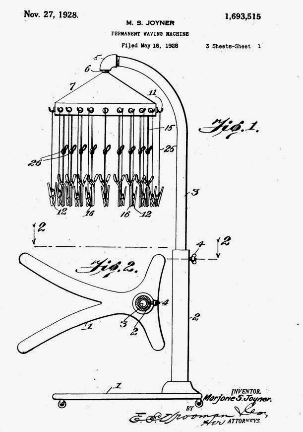 patent illustration for permanent wave machine