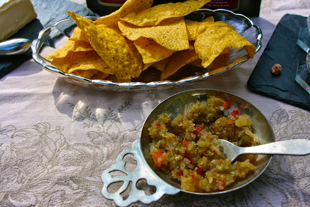 Green Tomato Relish and Corn Chips