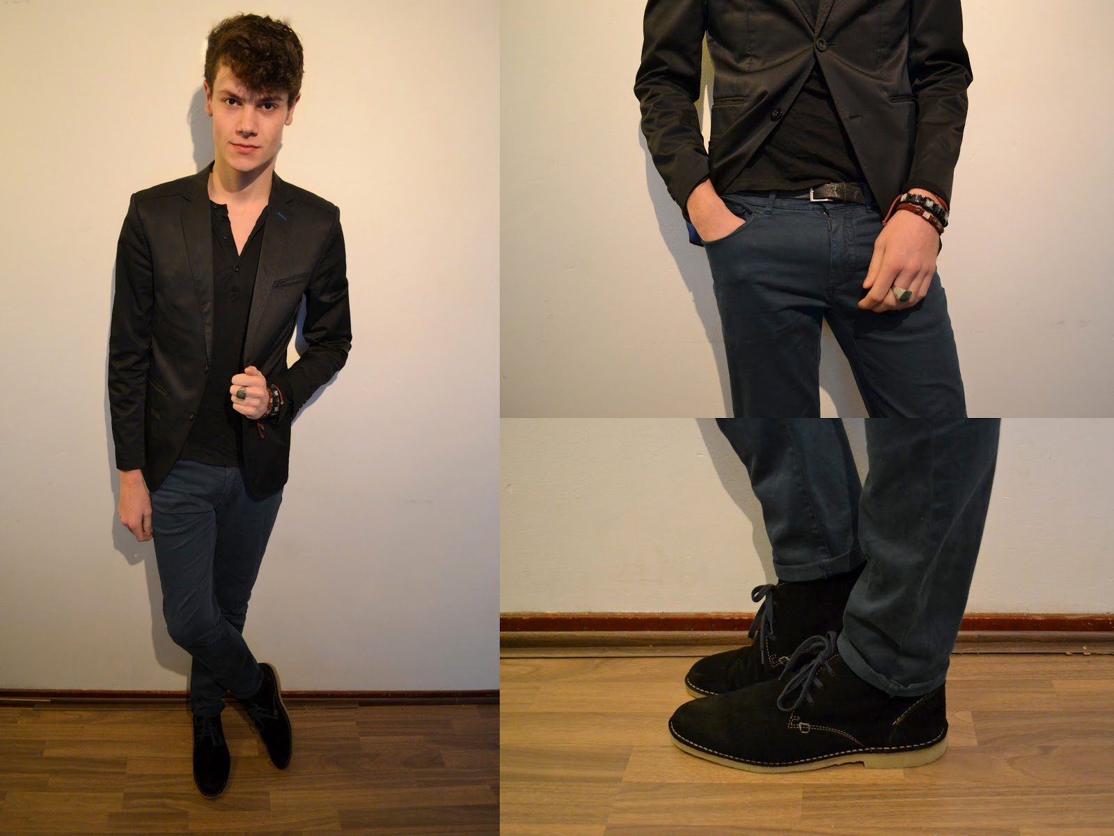 Brown shoes jeans and black jacket