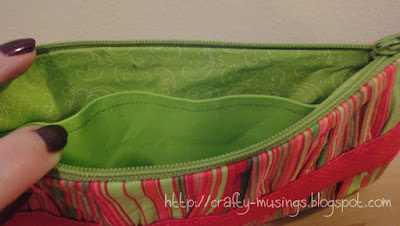 Noodlehead Gathered Clutch, inside view of pink-green