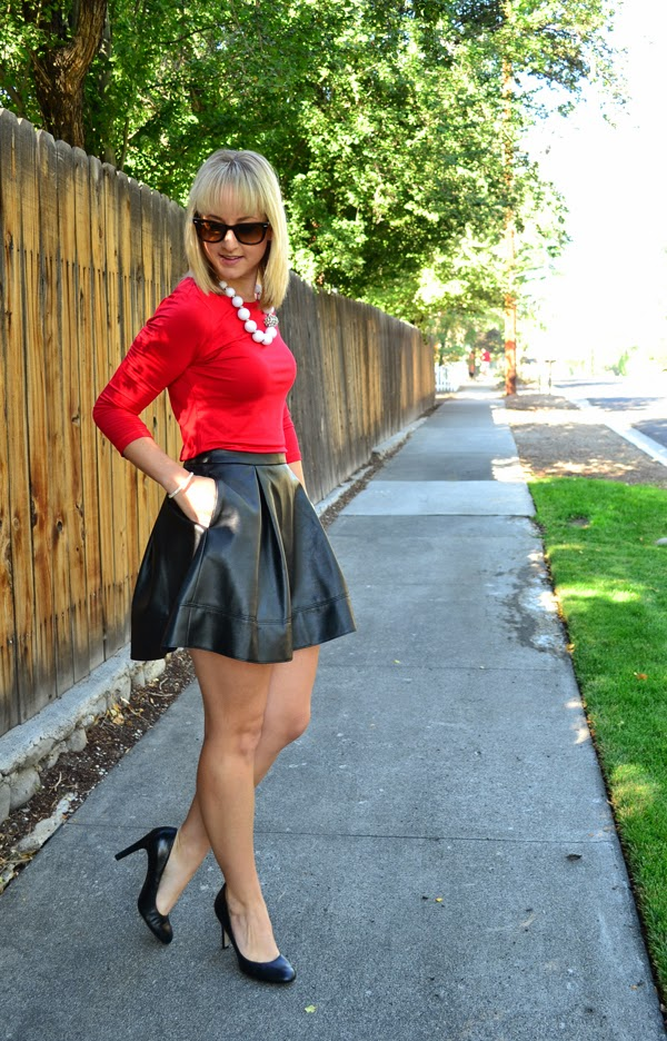 red shirt, black faux leather skirt, white chunky necklace, fashion blog, style blog