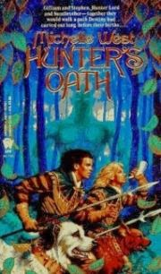 cover art for Hunter's Oath, featuring two white men with blonde and brown hair running with several dogs against a forested background. A horned, humanoid figure looms in the background.