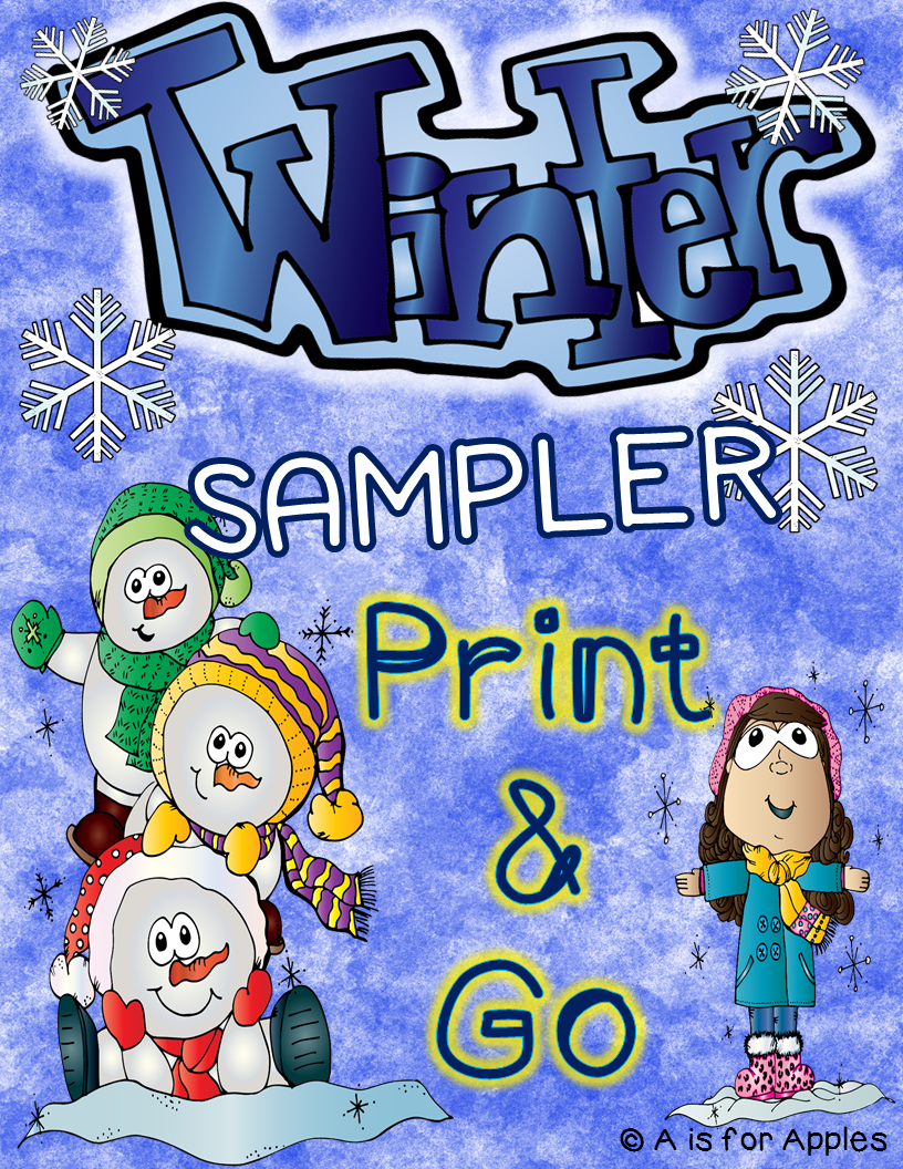 "This is a graphic that says, ""Winter Sampler Print and Go"" on it."