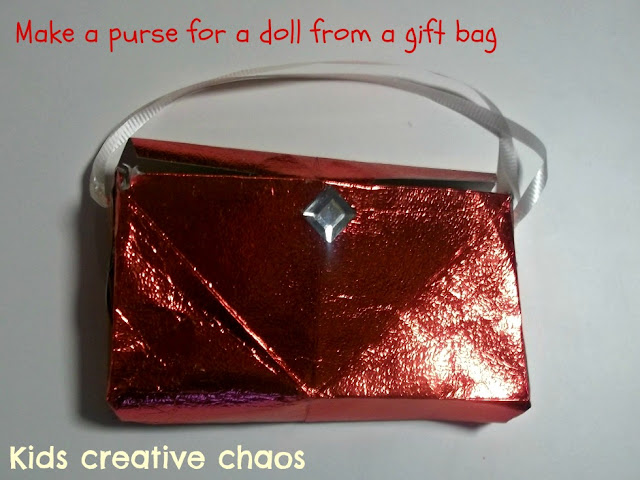 Valentine's Craft for Kids recycled gift bag purse treat