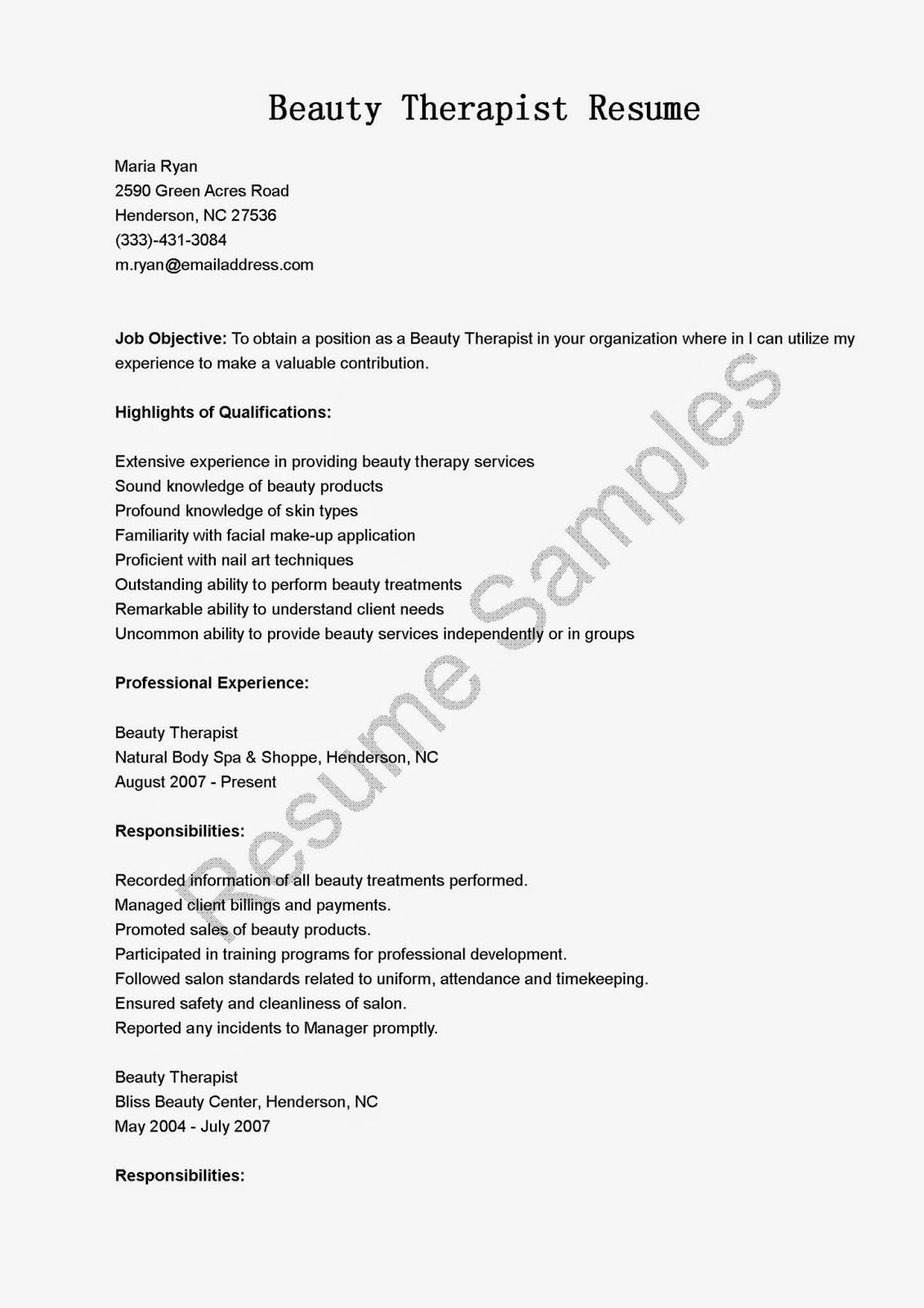 resume samples  beauty therapist resume sample