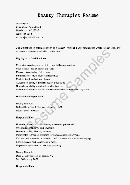 great sample resume resume samples beauty therapist resume sample