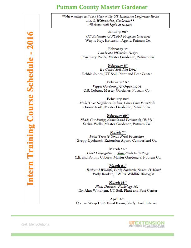 Putnam County Master Gardener  2016 Intern Schedule