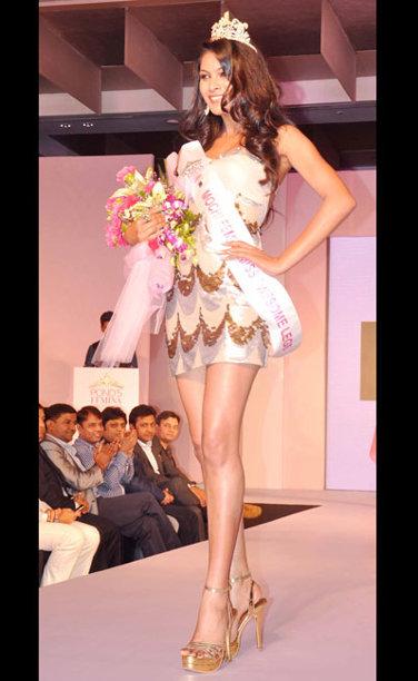 Lopamudra Raut winner of Mochi Femina Miss Awesome Legs, Enhance Femina Miss Body Beautiful and Yamaha Ray Femina Miss Adventurous 2013 Sub-Titles during the Ponds Femina Miss India 2013 beauty pageant held at Yash Raj Studios in Mumbai on March 24, 2013.