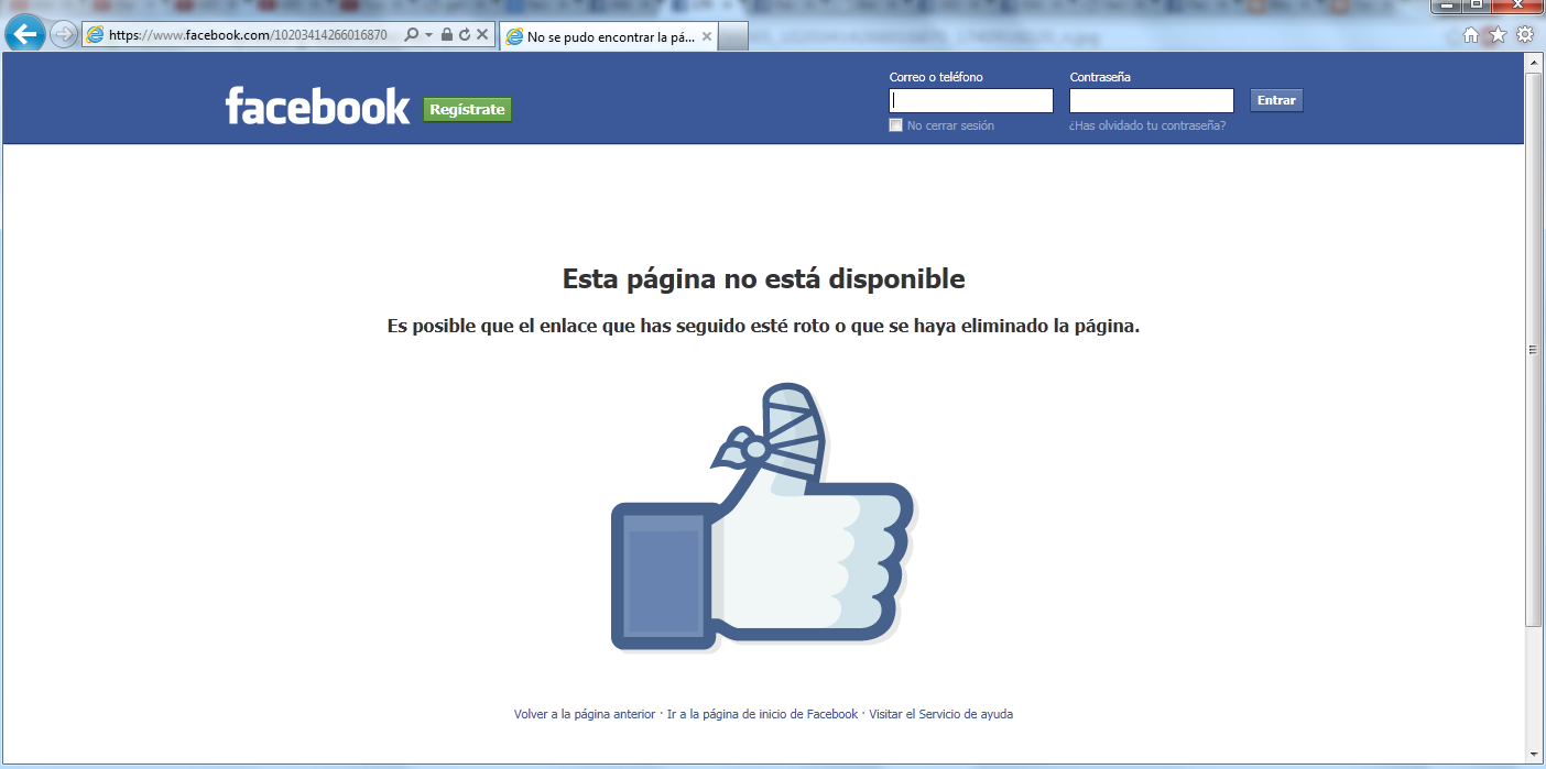 facebook privado no disponible