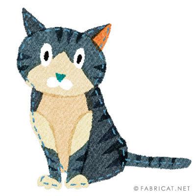 可愛いすましたサバトラ 猫のイラスト