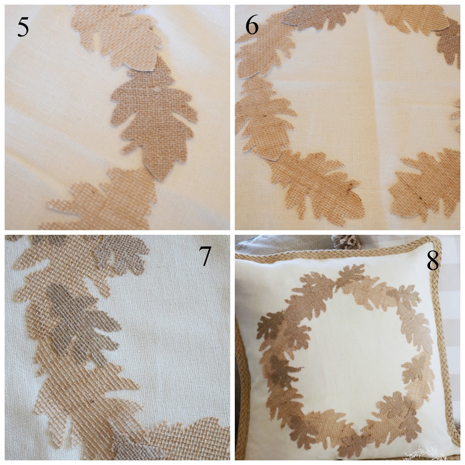 Arrange the big leaves on the pillow cover in a wreath