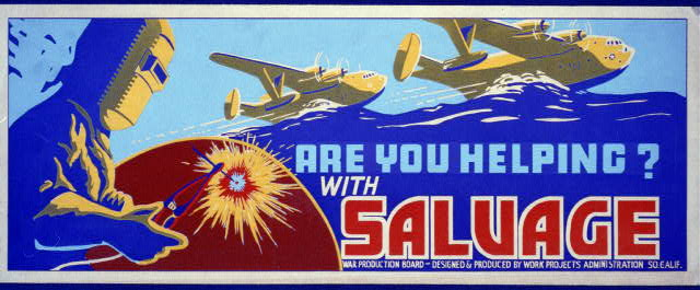 war, military, vintage, vintage posters, free download, graphic design, retro prints, classic posters, wwii, Are You Helping? With Salvage - Vintage War / Military Poster