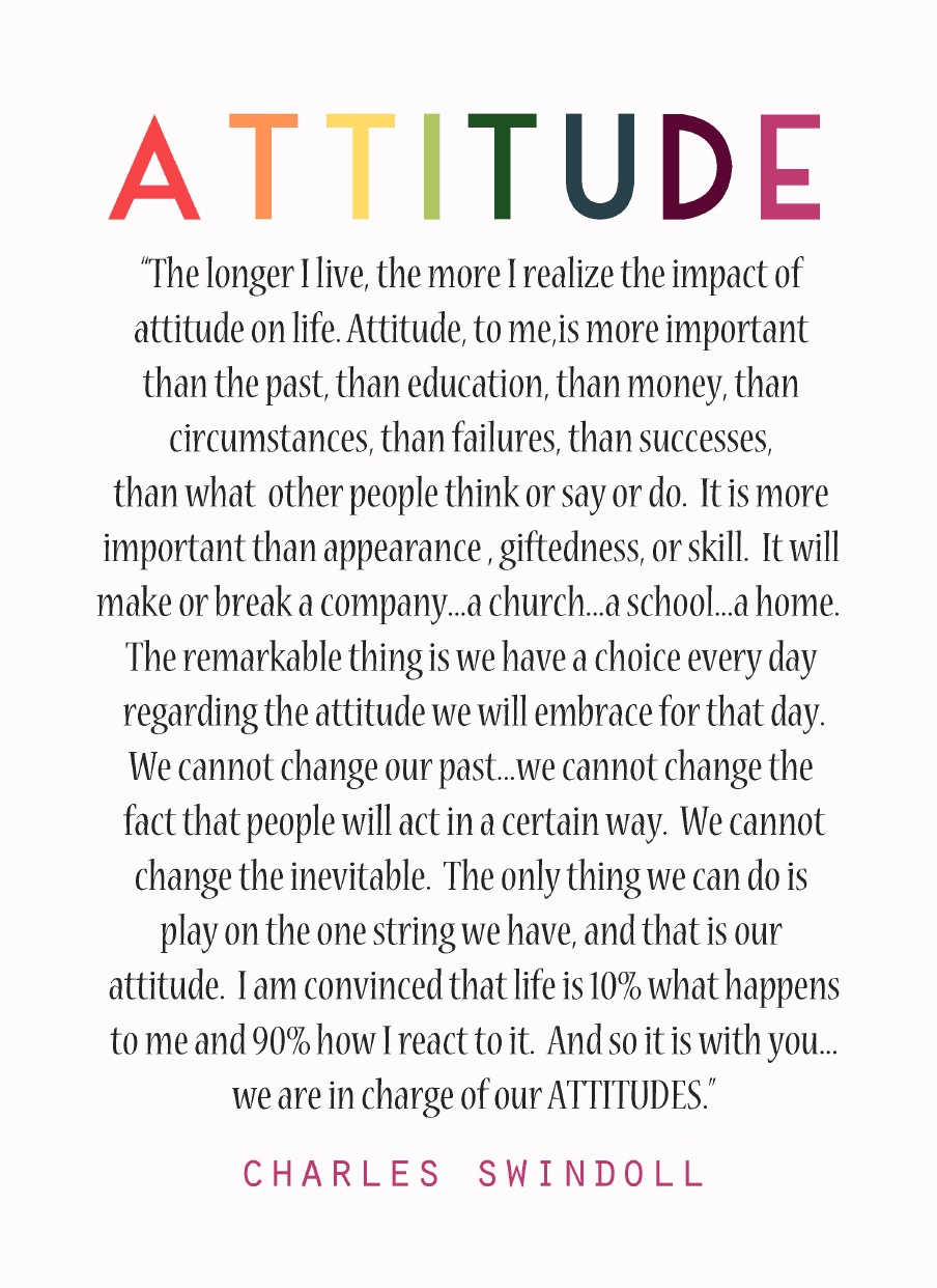 attitude is everything for success management essay Define attitude within the context of behavioral norms for employees in an  if  management does everything in its power to create a positive environment and  the  in the organization needs to be committed to the success of these initiatives.