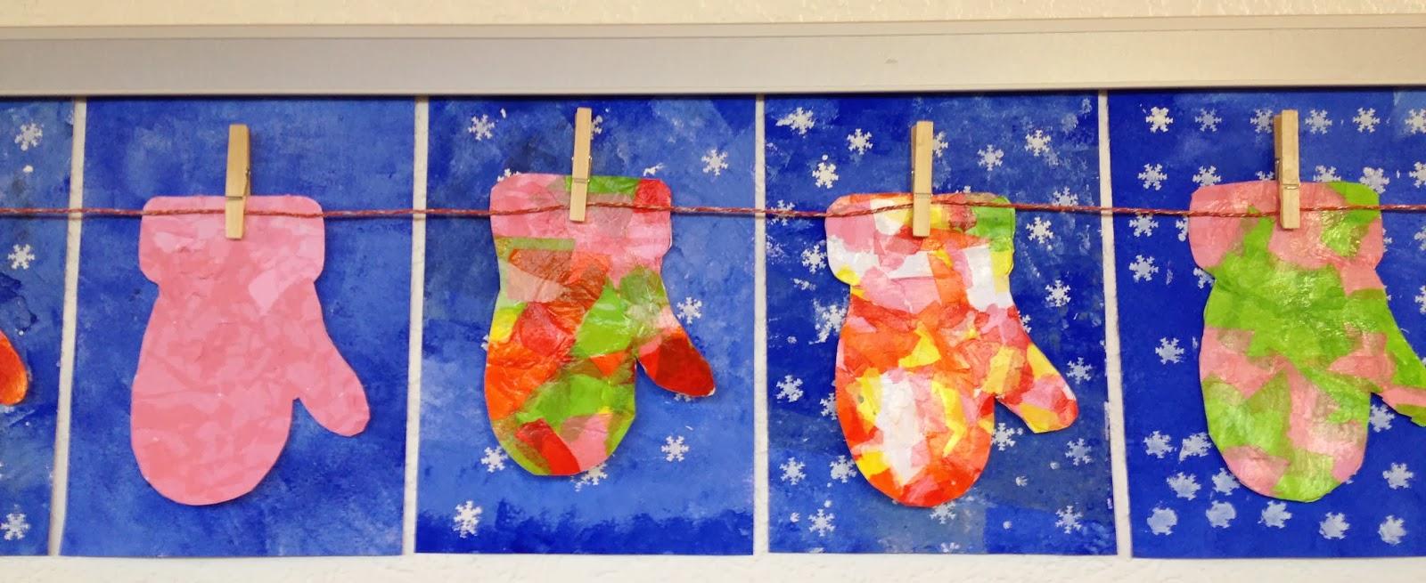 Klassenkunst Winterbild Handschuhe