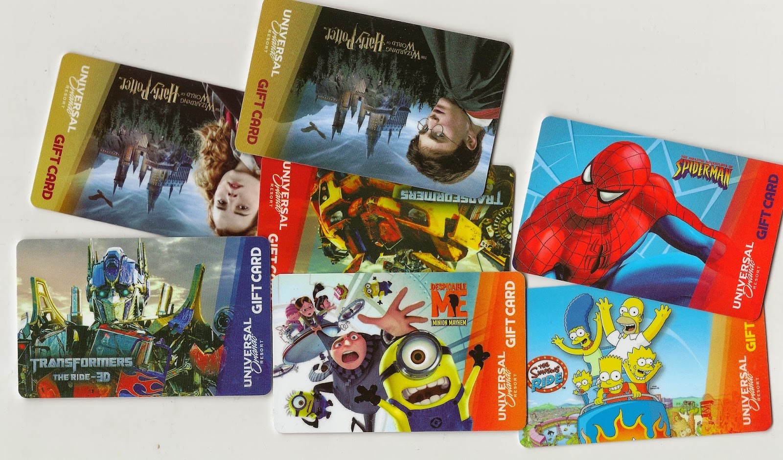 Universal Orlando GIFT CARDS 8 Designs Transformers Simpson Potter ...