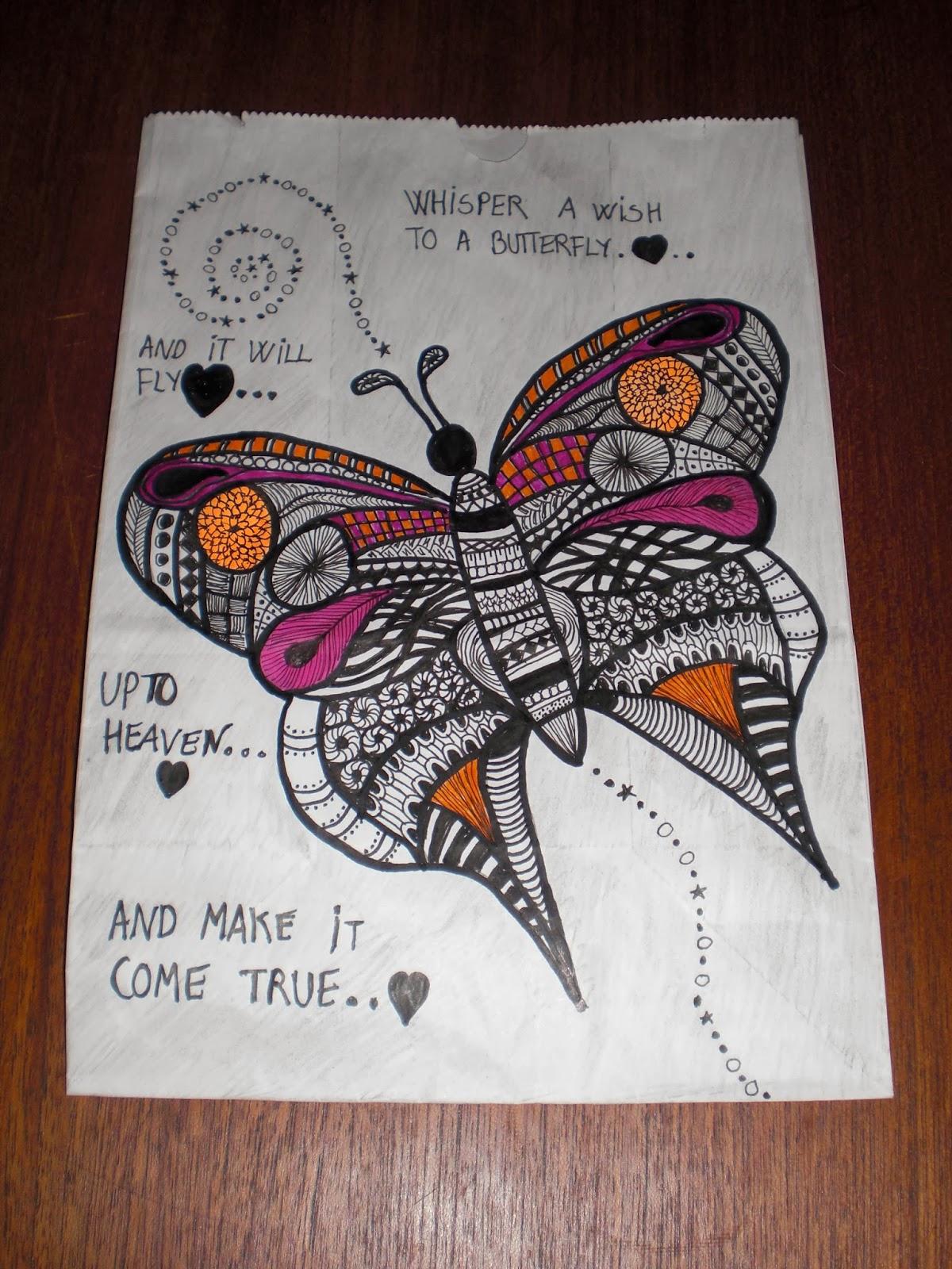 Zentangle kruseduller tegnet på lysposer for Kræftens Bekæmpelse.