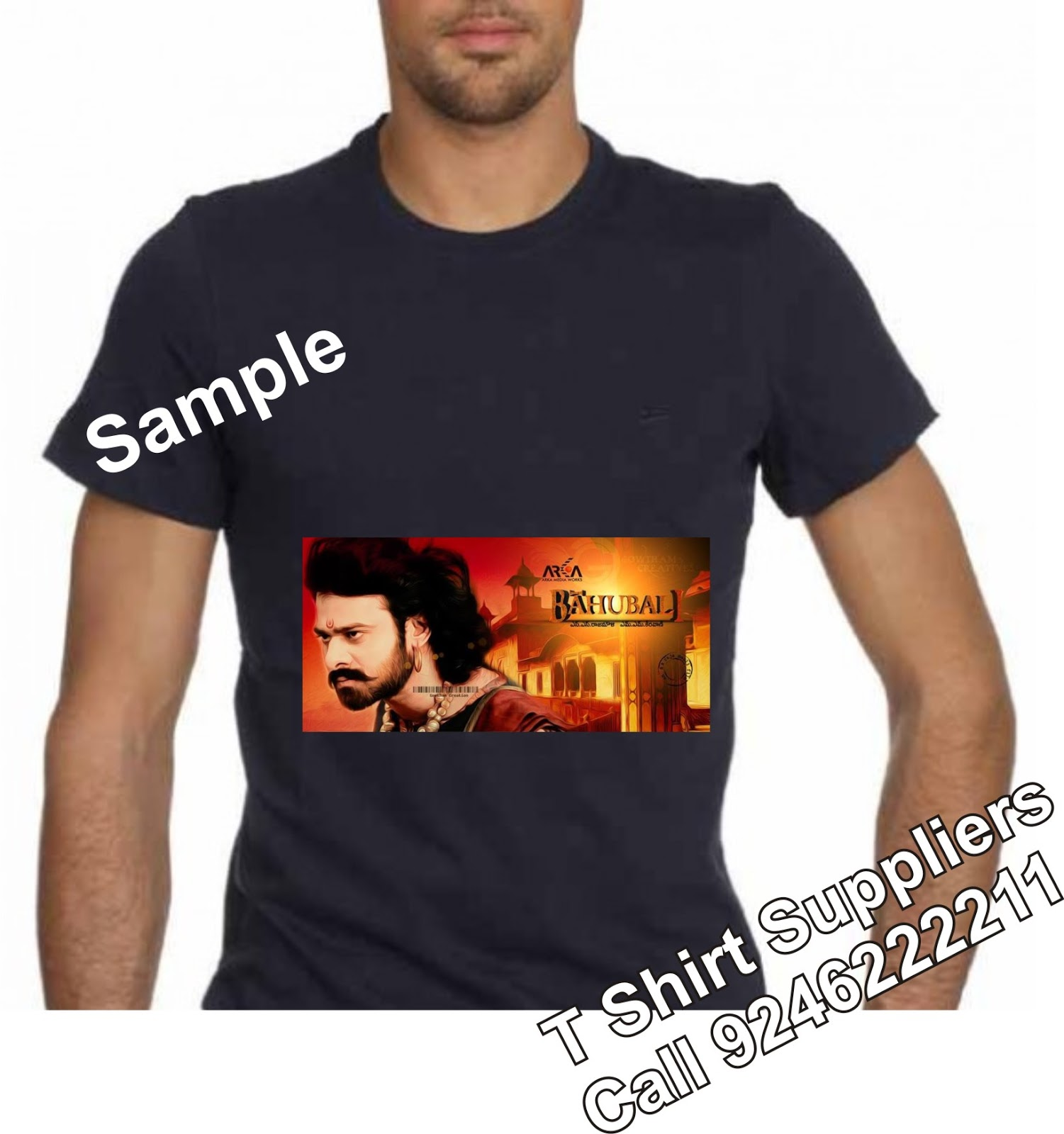 Bhaubali t shirts with printing prabhas fans t shirts for T shirt distributor manufacturers