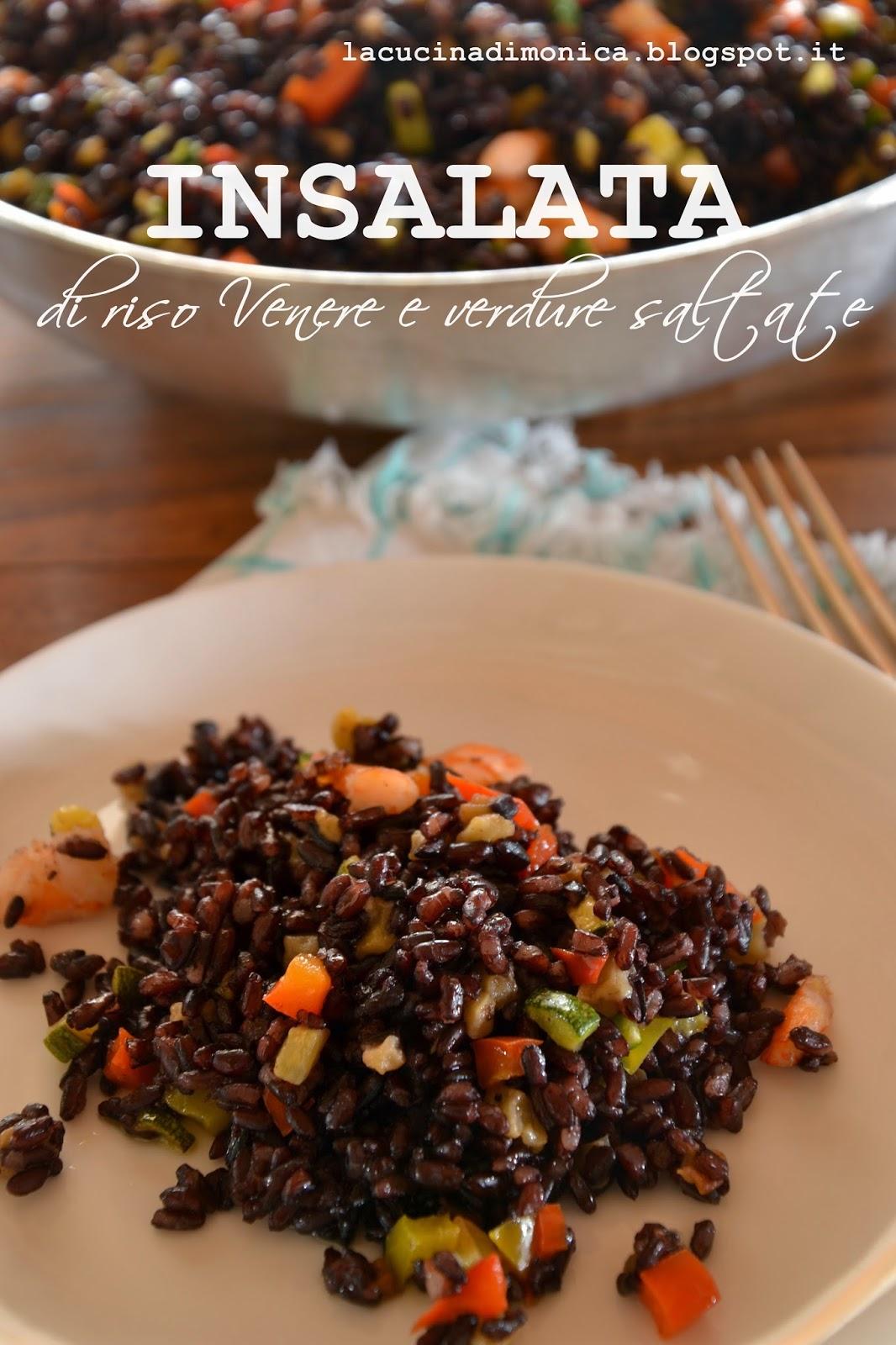 insalata di riso venere e verdure saltate