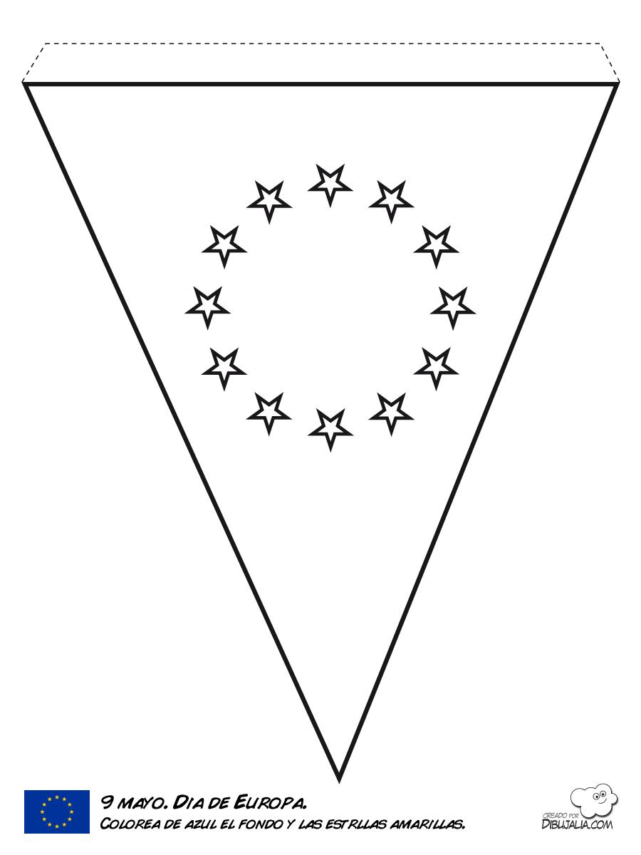 Banderin de Europa para colorear | Dibujos para Colorear Gratis