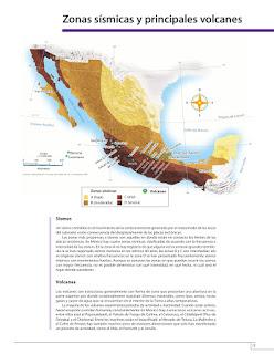 Apoyo Primaria Atlas de México 4to grado Bloque I lección 4 Zonas Sísmicas y principales volcanes