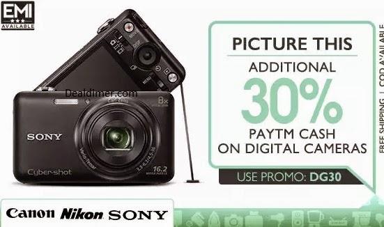 Cameras Extra 30% Cashback @ PayTm