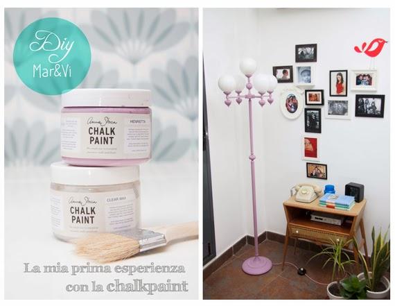 lampada rinnovata con la chalk paint