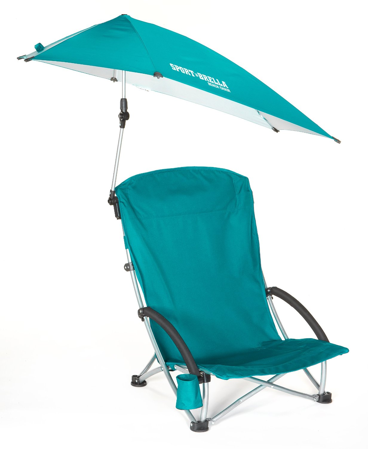 The beach umbrella support bars cross in the back of the chair and ...