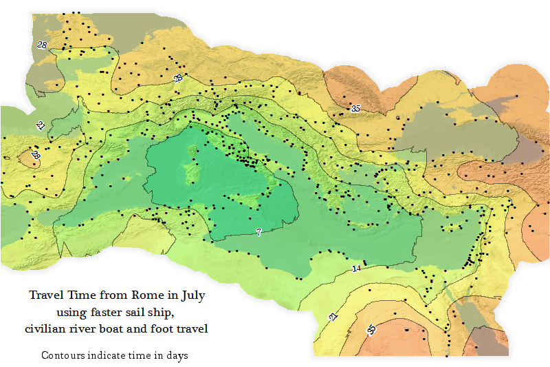 Urban Demographics A Travel Time Map Of The Roman Empire - Rome empire map