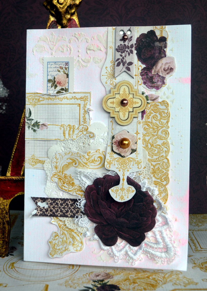 Rose Cafe card by Agnieszka Bellaidea using BoBunny Rose Cafe collection