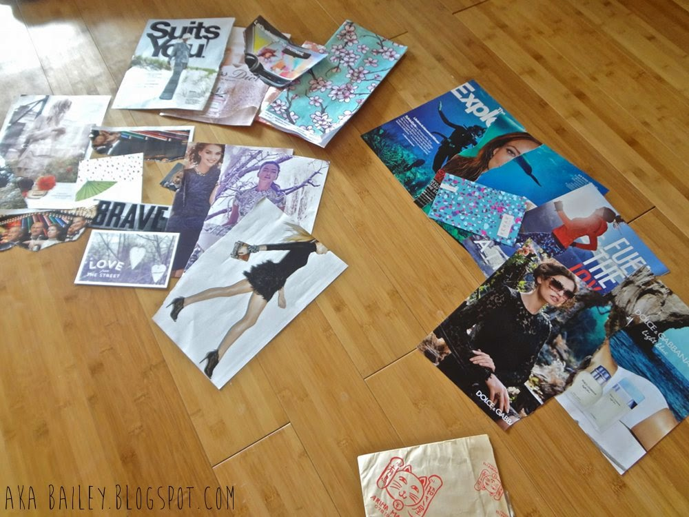 Craft Club: Magazine pags laid out for collages